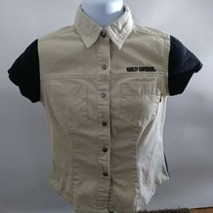 Harley Davidson Button up Top Small